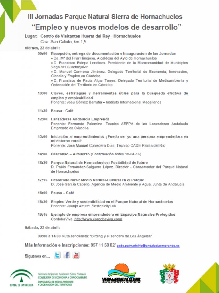 Cartel Jornadas Emprendimiento y Empleo Verde Hornachuelos